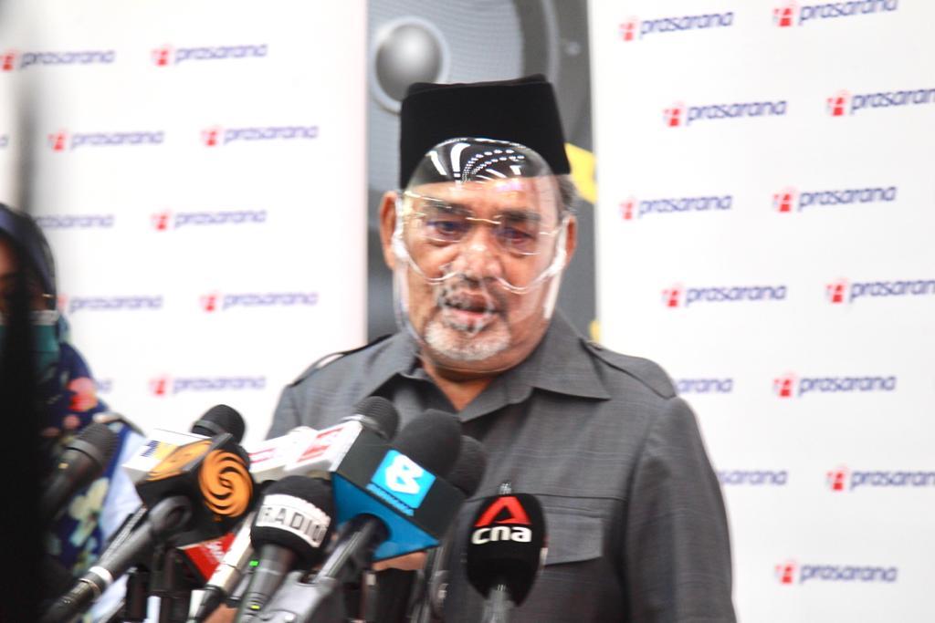 Prasarana chairman Datuk Seri Tajuddin Abdul Rahman addresses members of the media during a press conference in Kuala Lumpur May 25, 2021.