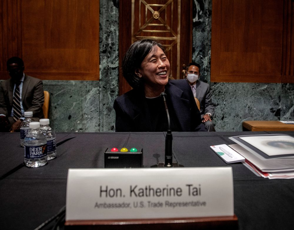 US Trade Representative Katherine Tai smiles after testifying before the Senate Appropriations Subcommittee on Commerce, Justice, Science, and Related Agencies during a hearing in Washington April 28, 2021. — Reuters pic