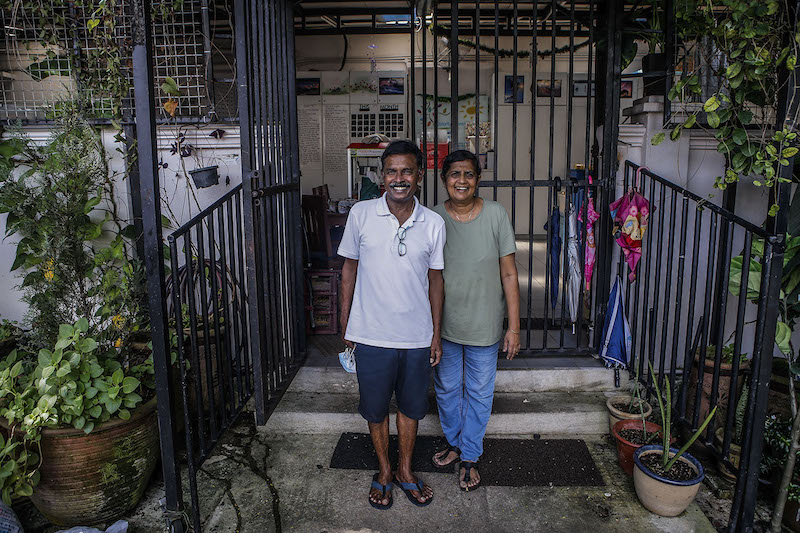 Lighthouse Children Welfare Association managers, Steven Silvaraju and Jecinta Steven in front of their home in Bangsar May 29, 2021. ― Picture by Hari Anggara