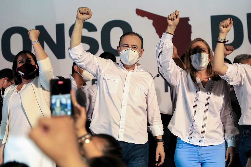 Alfonso Durazo, National Regeneration Movement (Morena) party candidate for governor in the state of Sonora, holds a rally with supporters after the mid-term elections in Hermosillo, Sonora June 6, 2021. — Reuters pic