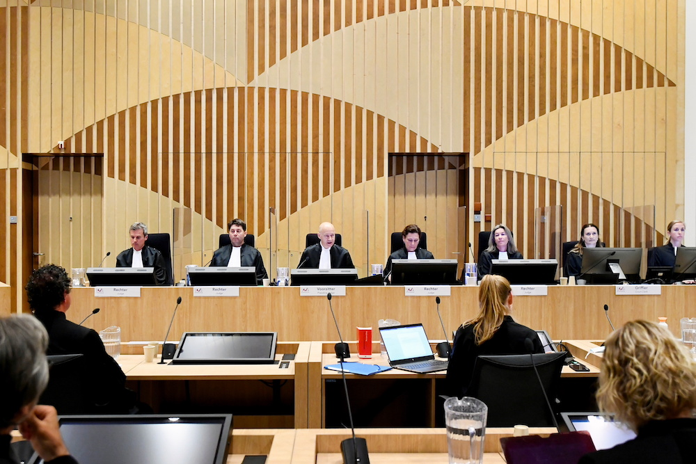 A general view of the courtroom where the MH17 trial of three Russians and a Ukrainian is taking place as it enters a critical next stage, in the Schiphol Judicial Complex, Badhoevedorp, Netherlands June 7, 2021. — Reuters pic