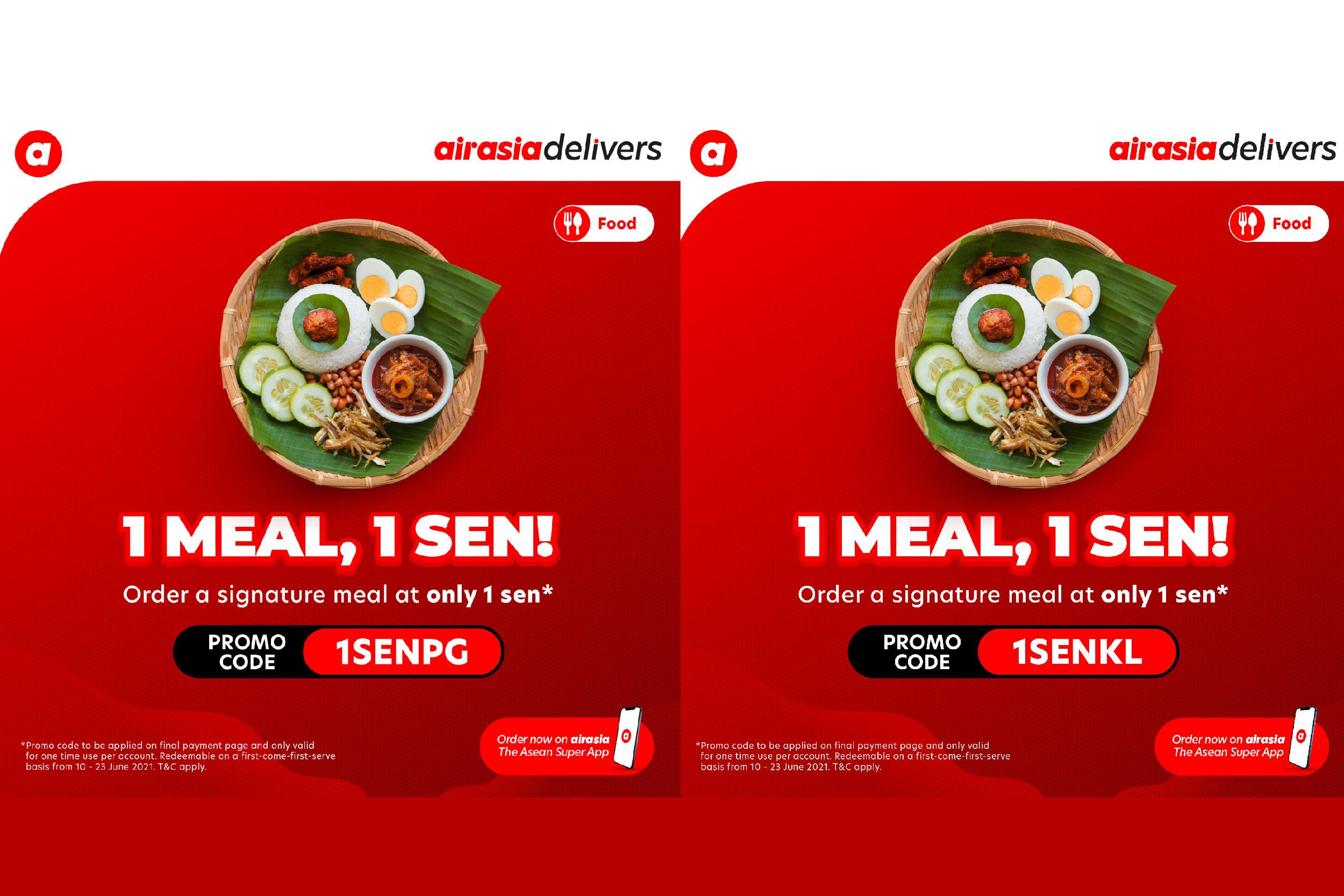 目前在巴生谷和槟城运营的美食配送平台airasia food, 将推出1仙特选餐厅招牌餐点限时促销。-亚航提供-