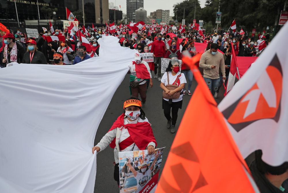 Supporters of Peru's presidential candidate Keiko Fujimori gather in Lima, Peru June 9, 2021. — Reuters pic
