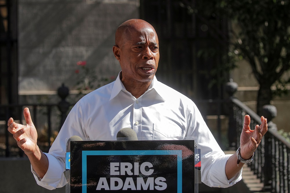 Eric Adams, Brooklyn borough president and Democratic candidate for New York City Mayor, speaks during a news conference outside Brooklyn borough hall in Brooklyn June 24, 2021. — Reuters pic