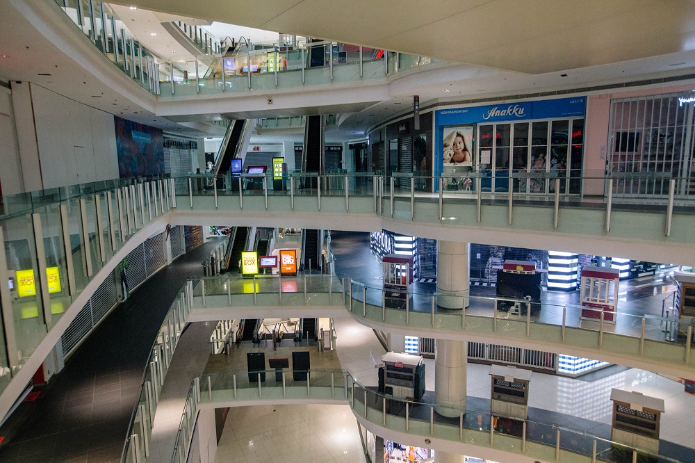 A view of an empty shopping mall during the movement control order in Kuala Lumpur June 2, 2021. — Picture by Firdaus Latif