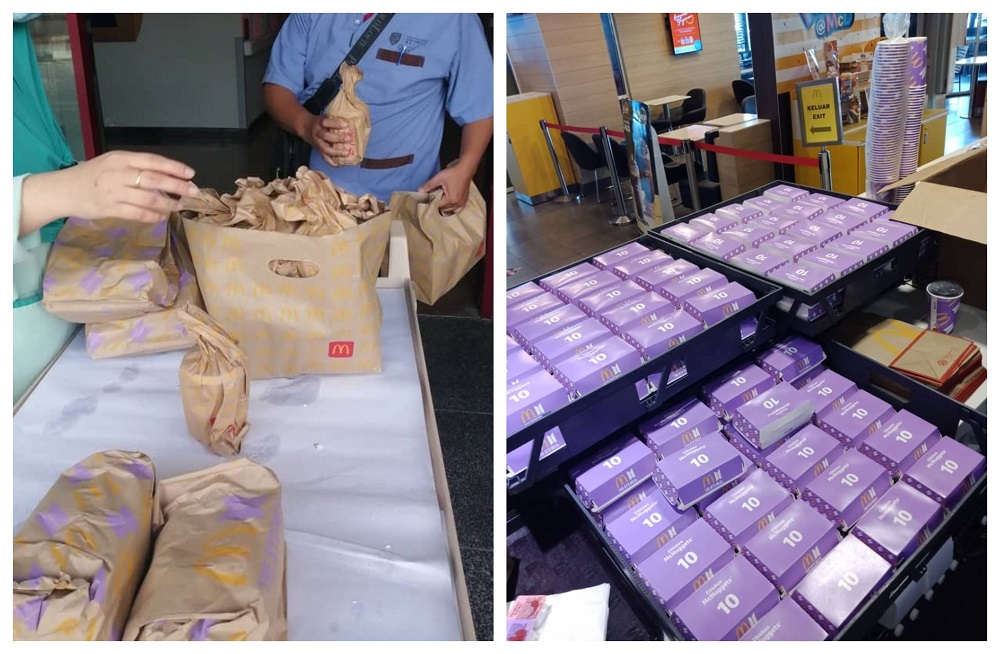 Covid-19 frontliners at UMMC, HUSM and MAEPS received the meals from charitable BTS fans.  —  Pictures via Twitter/PurpleProject7