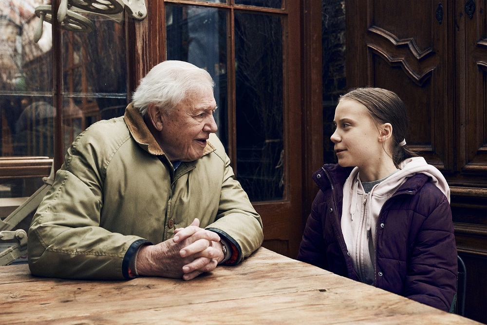 The 18-year-old with famed natural historian Sir David Attenborough. — Picture courtesy of BBC Studios
