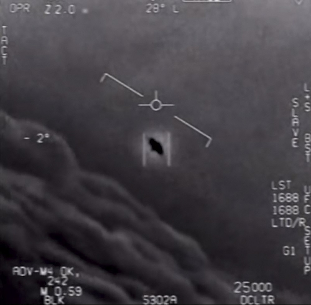 This file video grab image obtained April 26, 2020 shows part of an unclassified video taken by Navy pilots that have circulated for years showing interactions with 'unidentified aerial phenomena'. — Handout by the US Department of Defence via AFP