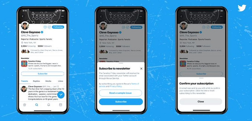 According to Social Media Today, Twitter could also offer a 'subscribe' option to newsletters directly from tweets. — Picture via Twitter/Revuie