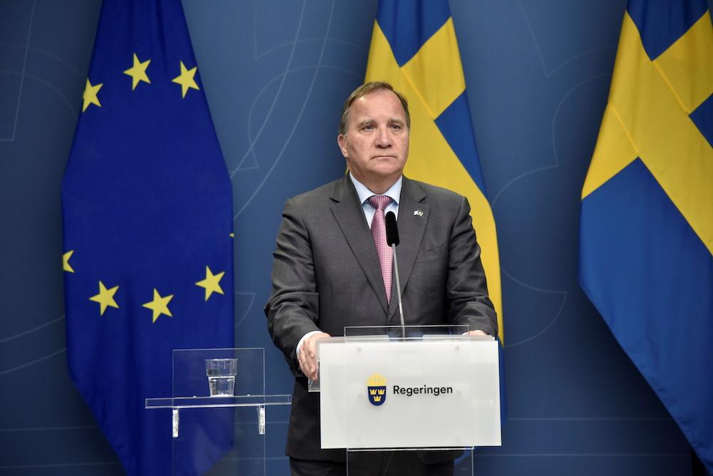 Swedish Prime Minister Stefan Lofven attends a digital news conference in Stockholm, Sweden June 20, 2021. — TT News Agency/Lars Schroder via Reuters