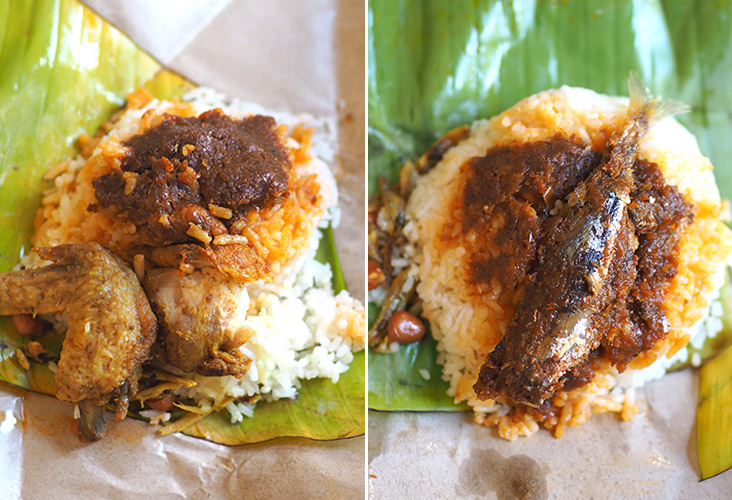The 'ayam goreng nasi lemak' is served with a small piece of boneless chicken meat and 'kunyit' fried chicken wing (left). There's even a fish version where you get a small piece of fried fish on top of your 'sambal' and rice (right).