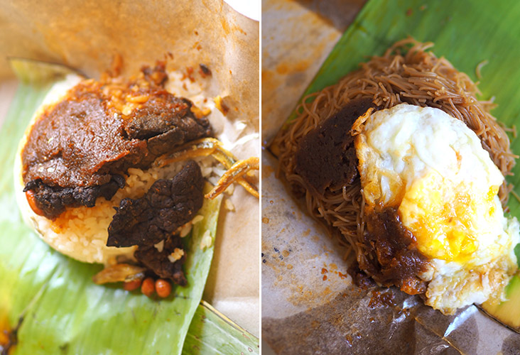 If you love 'paru' or cow's lungs like me, this 'nasi lemak bungkus' is for you (left). If rice isn't your thing, opt for their fried beehoon topped with 'sambal' and fried egg for breakfast (right).