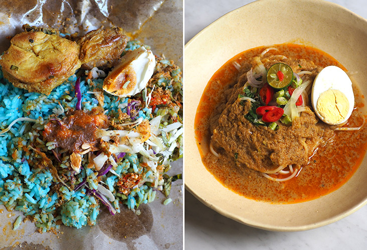 'Nasi kerabu' with 'ayam goreng' is a riot of colours and flavours (left). 'Laksa' Johor comes with spaghetti and a rich flaked fish sauce (right).