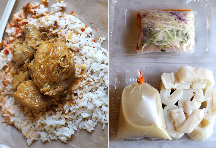 Looking for a simple meal, try their 'nasi berlauk' with 'gulai ayam' and 'sambal belacan' (left). You can pick up 'laksam' all packed and ready to go (right).