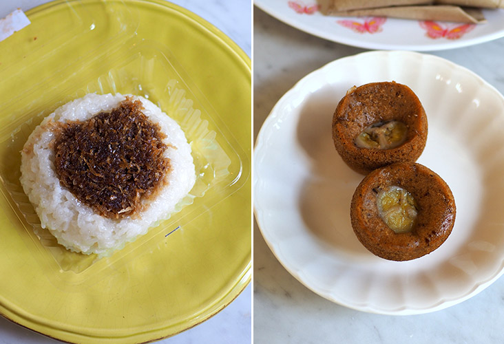 You can enjoy a huge portion of 'pulut inti' for just RM2 (left). Their fluffy 'apam' with banana is satisfying for a slight sweet treat (right).
