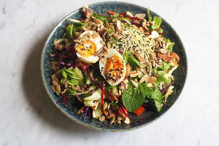 It may be called a mixed nuts and seeds salad but it feels extremely satisfying with all the goodies inside like avocado, pumpkin, and various seeds and nuts