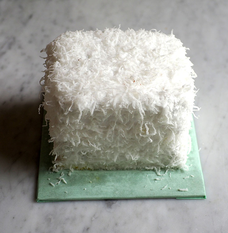 Underneath the pure white exterior of the 'ondeh ondeh' cake, you have lovely pandan and coconut flavours