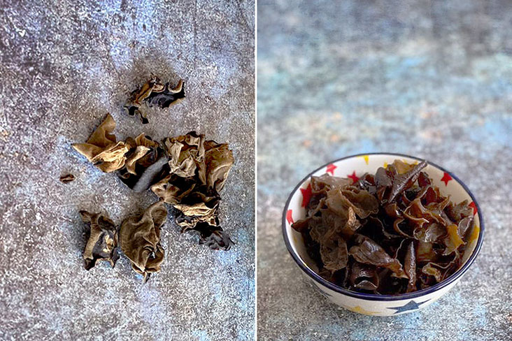 To prepare black fungus or wood ear fungus, first soak the dried pieces in water to rehydrate.