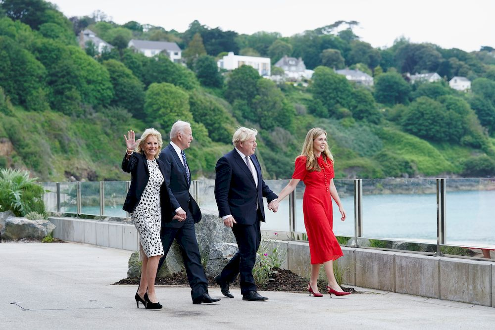 Britain's Prime Minister Boris Johnson, his wife Carrie Johnson and US President Joe Biden with first lady Jill Biden walk outside Carbis Bay Hotel, Carbis Bay, Cornwall, Britain June 10, 2021. — Reuters pic