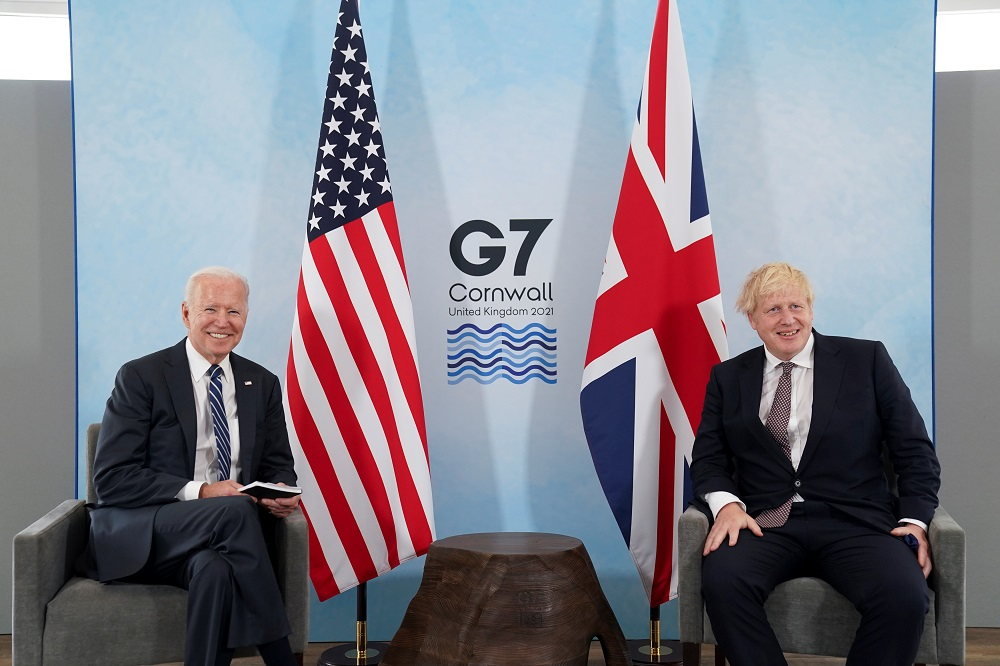 Britain's Prime Minister Boris Johnson and US President Joe Biden look on during their meeting, ahead of the G7 summit, at Carbis Bay, Cornwall, Britain June 10, 2021. ― Reuters pic