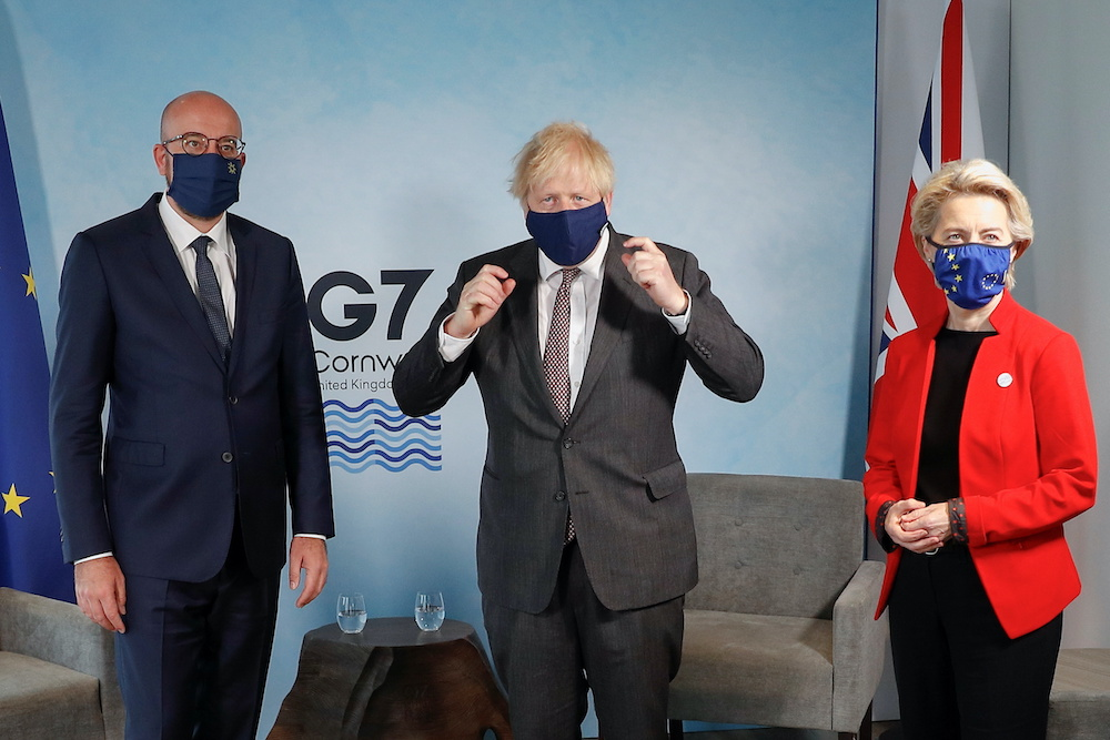 Britain's Prime Minister Boris Johnson meets with European Commission President Ursula von der Leyen and European Council President Charles Michel during the G7 summit in Carbis Bay, Cornwall, Britain, June 12, 2021. ― Reuters pic