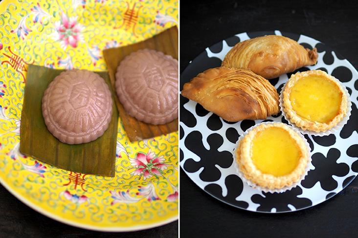 Enjoy homemade 'kuih angku' filled with mung bean paste (left). Their spiral curry puff delivers flaky happiness in every bite while their egg tart is delicious with buttery pastry layers (right)