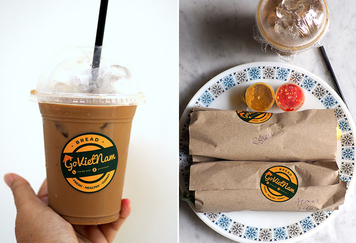 You can opt to add a fragrant iced milk or dark Vietnamese coffee with your 'banh mi' order (left). The 'banh mi' is simply packed in brown paper and accompanied with a pungent chilli sauce and a savoury brown sauce made with pâté and chicken stock (right).