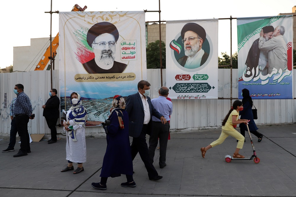 Banners of presidential candidate Ebrahim Raisi are seen during an election rally in Tehran, Iran June 14, 2021. ― Majid Asgaripour/WANA (West Asia News Agency) via Reuters