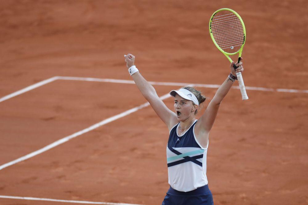 Czech Republic's Barbora Krejcikova celebrates winning her semi final match against Greece's Maria Sakkari at Roland Garros, Paris June 10, 2021. — Reuters pic
