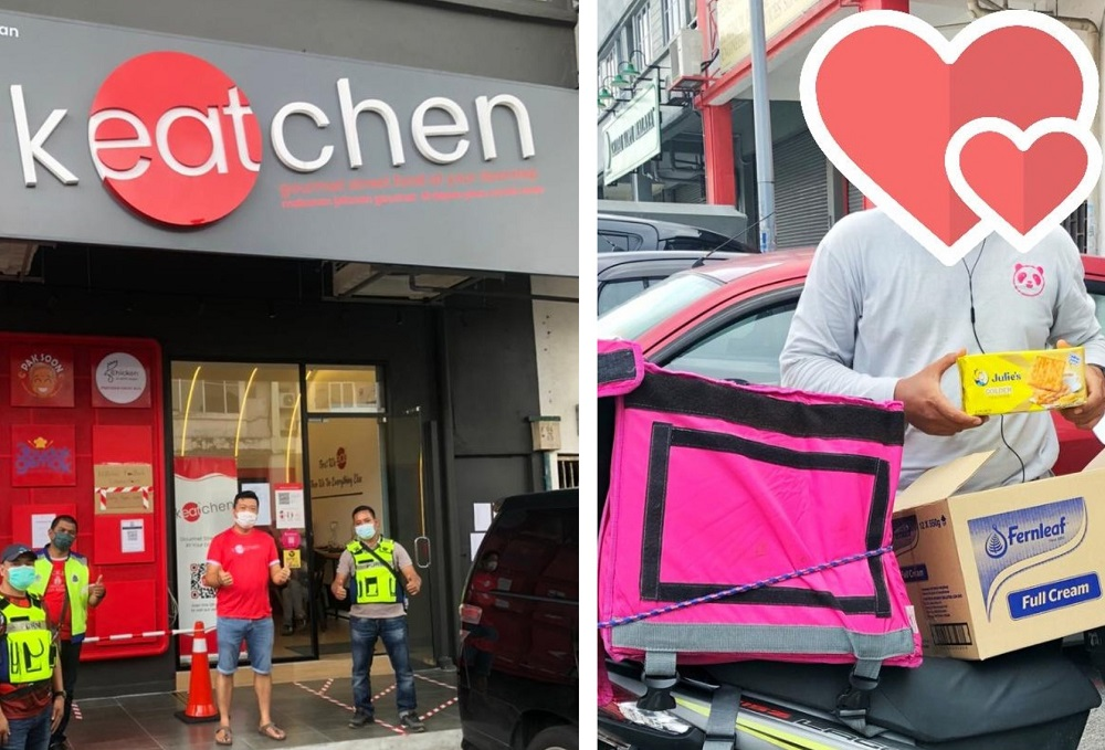 kEATchen has also brought joy to food delivery riders who received their food packages. — Picture courtesy via Faris Faridudin Mohmad