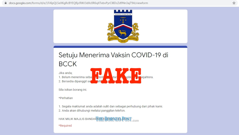 A screenshot of the fake Google Forms page using the MBKS crest. — Borneo Post Online pic