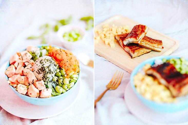 Onsen Egg Rice Bowl with Smoked Salmon (left) and Hi Unagi! (right).