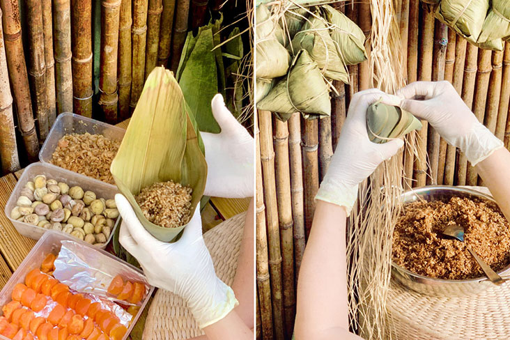 Folding the bamboo leaves so the rice dumpling is wrapped properly (left) and tying it up (right).