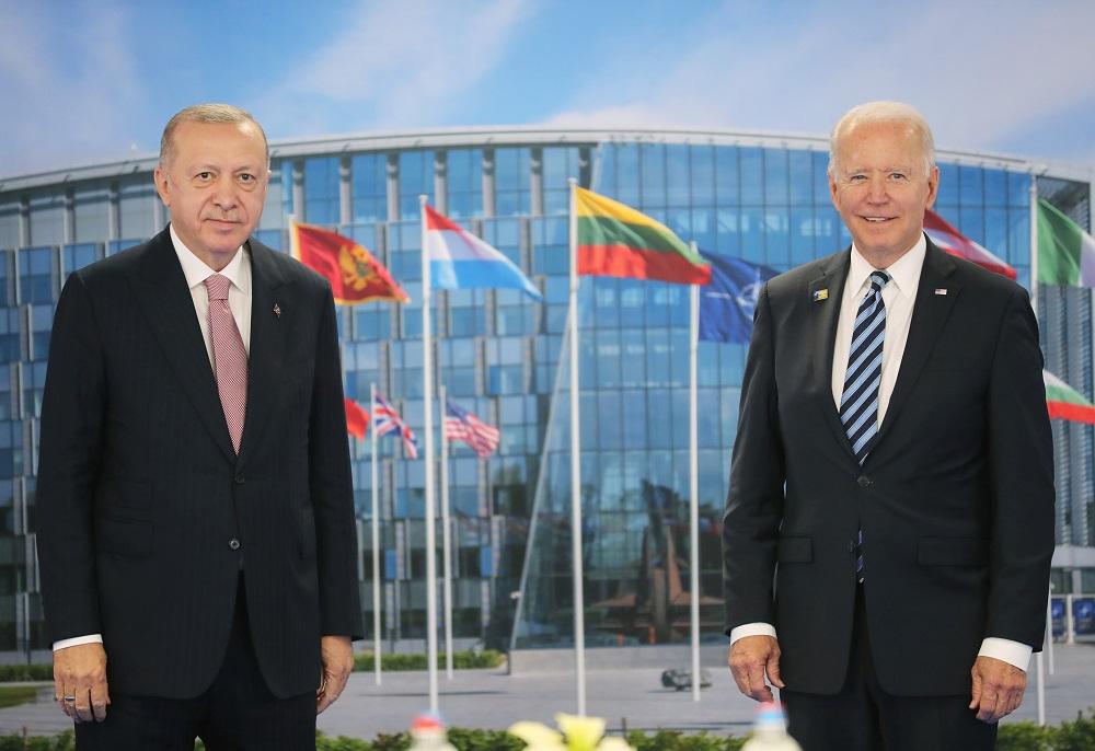 Turkish President Tayyip Erdogan meets with US President Joe Biden on the sidelines of the Nato summit in Brussels, Belgium June 14, 2021. ― Murat Cetinmuhurdar/Presidential Press Office/Handout via Reuters