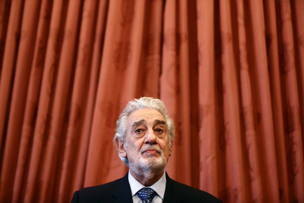 Spanish tenor Placido Domingo looks on after receiving the 'Honorary World Heritage Ambassador of Spain' award during a ceremony at Royal Theatre in Madrid, Spain, June 10, 2021. — Reuters pic