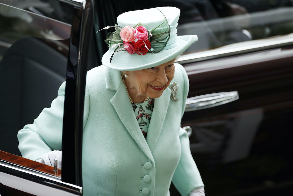 Britain's Queen Elizabeth as she arrives before the races at the Royal Ascot Racecourse in Ascot, Britain, June 19, 2021. — Reuters pic