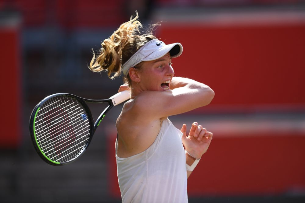 Russia's Ludmilla Samsonova in action during the final match against Switzerland's Belinda Bencic at Rot-Weiss Tennis Club, Berlin June 20, 2021. — Reuters pic