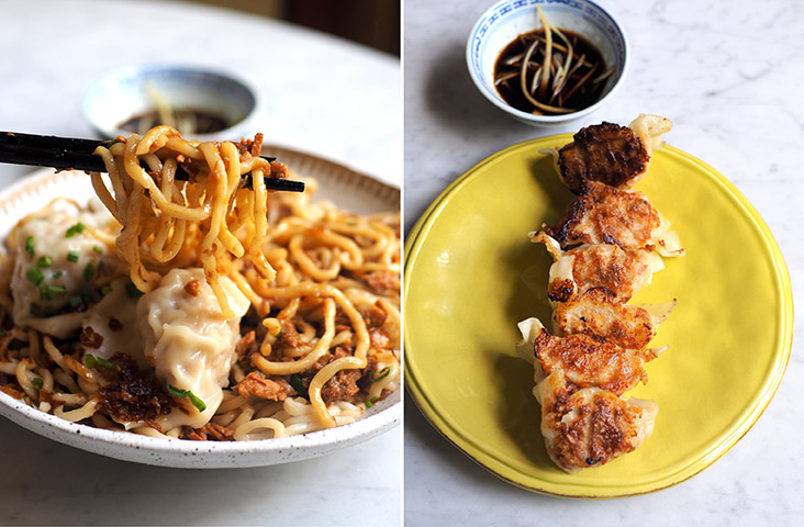 The noodles have a smooth texture and are well coated with the braised pork sauce (left). You can order the dumplings pan fried or served with soup, depending on your preference (right)