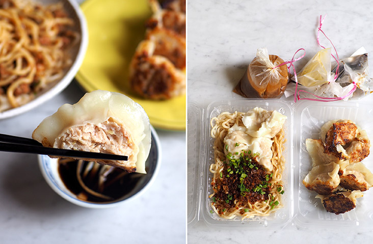 The homemade dumplings are plump with a generous pork filling (left). Take away a simple noodles and dumplings meal from this stall at this popular SS2 coffee shop (right)