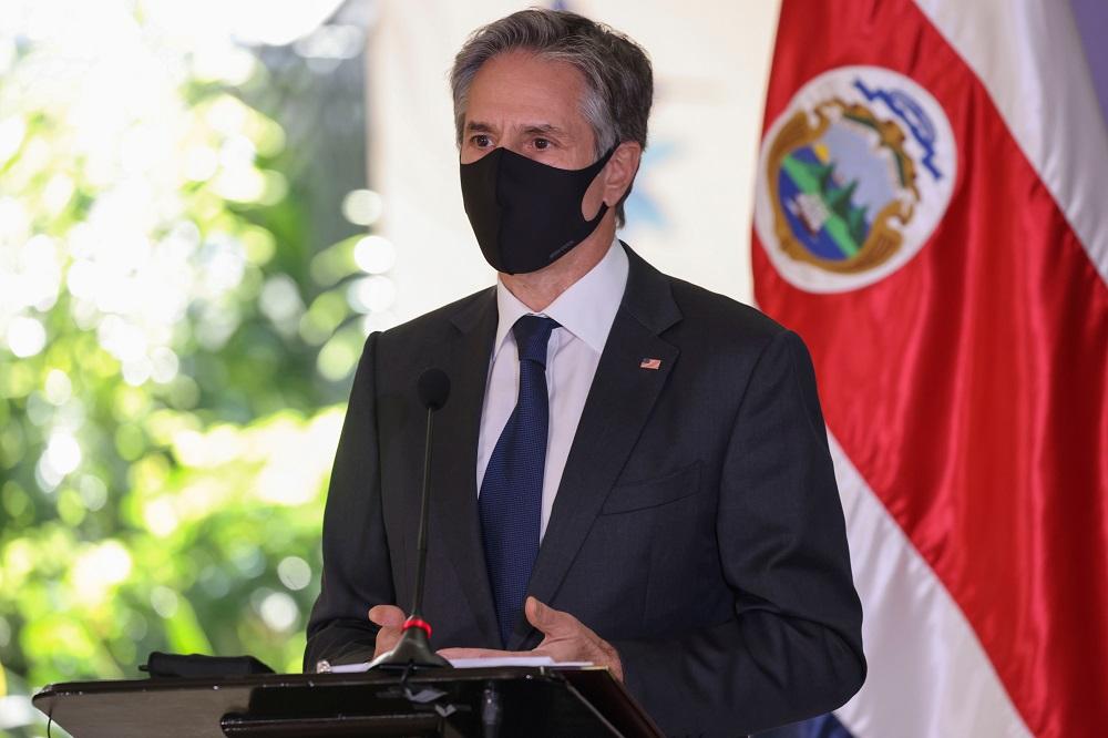 US Secretary of State Antony Blinken speaks during a news conference with Costa Rica's President Carlos Alvarado Quesada in San Jose, Costa Rica June 1, 2021. ― Reuters pic