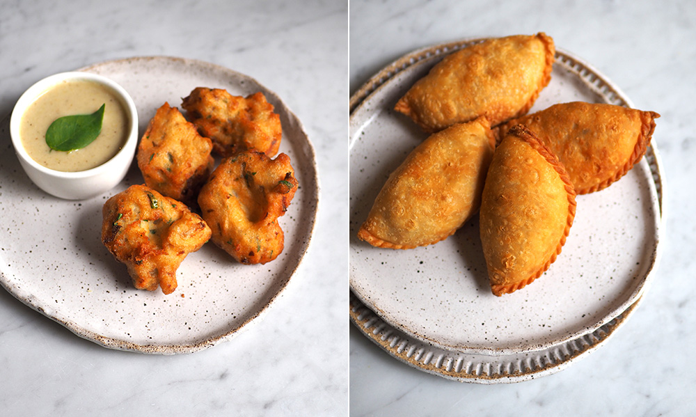 You can also shape the 'vadai' like doughnuts which is the usual way (left). The curry puffs make a delicious tea-time snack with a crispy skin and a filling of soft diced curry potatoes (right).