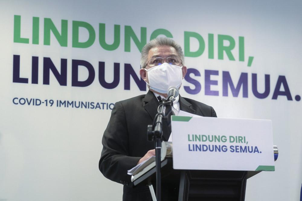 Health Minister Datuk Seri Dr Adham Baba speaks during a press conference on Covid-19 developments in Putrajaya, June 21, 2021. — Bernama pic