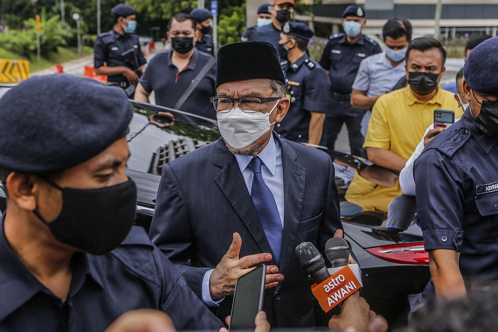 PKR president Datuk Seri Anwar Ibrahim speaks to reporters outside Istana Negara in Kuala Lumpur June 9, 2021. — Picture by Hari Anggara