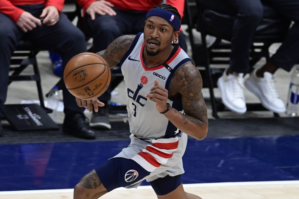 Washington Wizards guard Bradley Beal (3) dribbles up the court during game four against the Philadelphia 76ers in the first round of the 2021 NBA Playoffs at Capital One Arena May 31, 2021. — Reuters pic