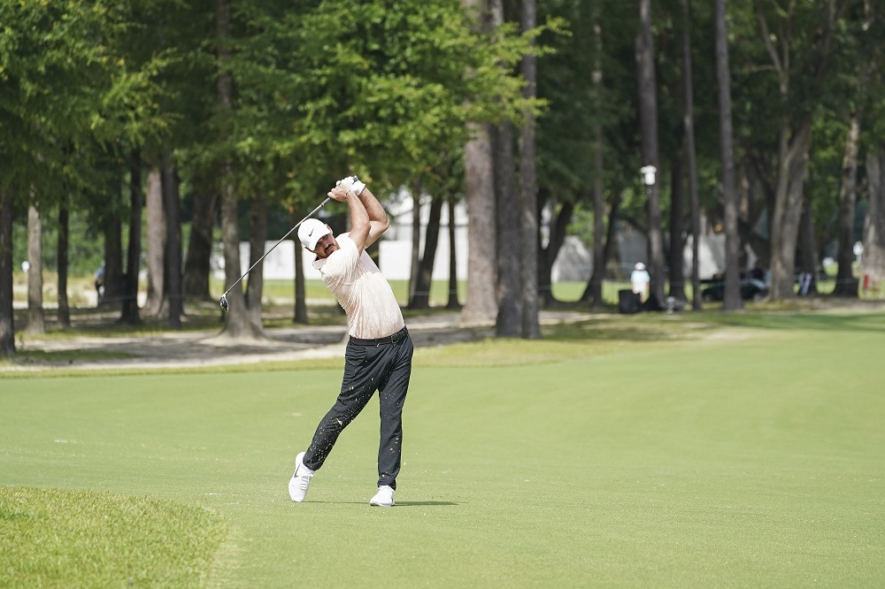 Brooks Koepka shoots from the fairway on 12th during the first round of the Palmetto Championship at Congaree golf tournament, June 10, 2021. ― David Yeazell-USA TODAY Sports pic via Reuters