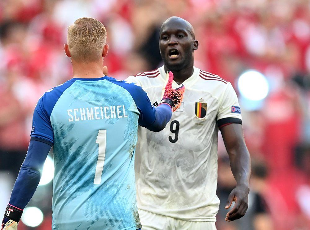 Belgium's Romelu Lukaku with Denmark's Kasper Schmeichel after the match at the Parken Stadium, Copenhagen June 17, 2021. — Reuters pic