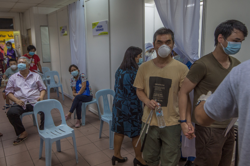 File picture shows the disabled receiving Covid-19 vaccinations at the Malaysia Association for the Blind (MAB) complex June 4, 2021. — Picture by Shafwan Zaidon