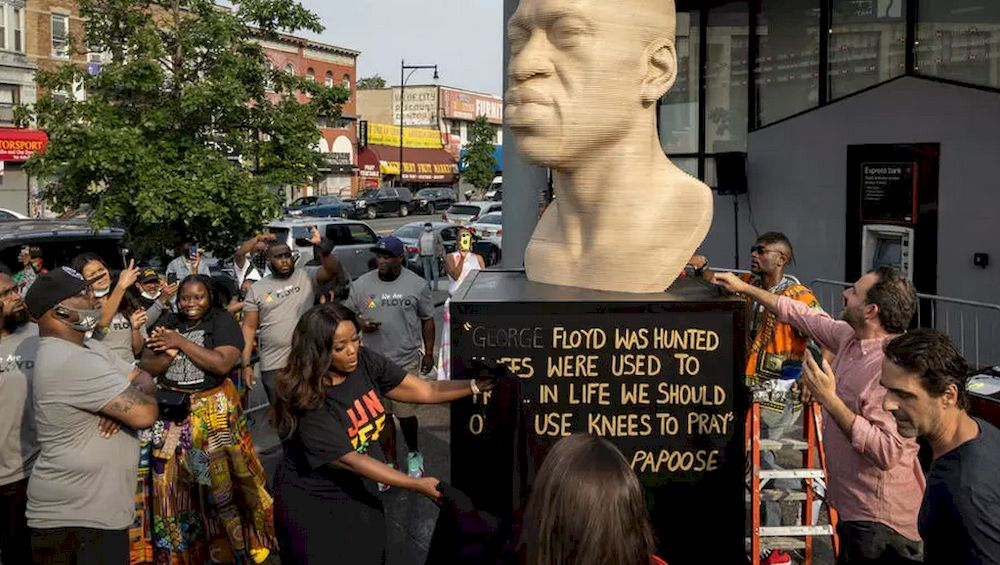 The wooden statue of George Floyd was inaugurated in the presence of Terrence. — AFP pic