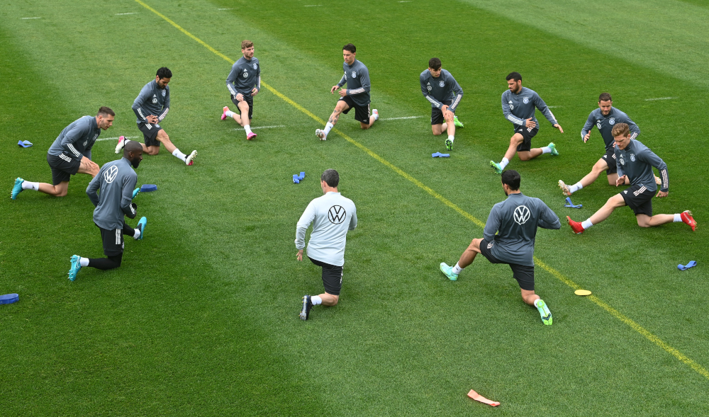 Germany's players warm up during a training session June 6, 2021, in Seefeld, Austria, where the German national football team attends a training camp ahead of the European football championship 2020-2021. — AFP pic