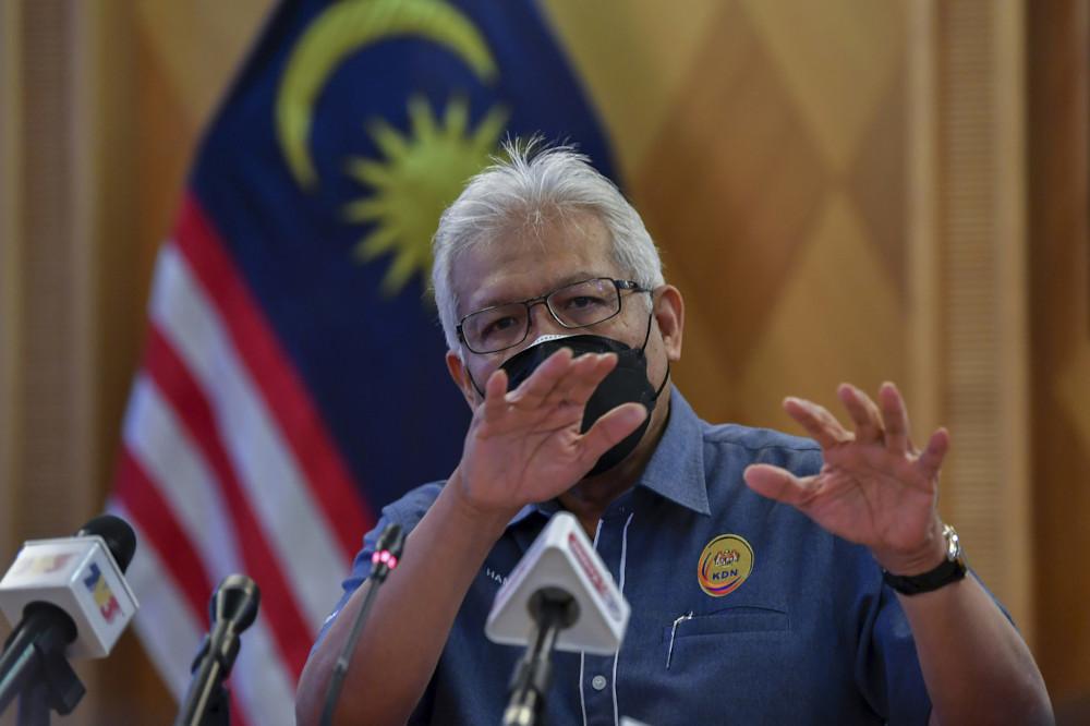 Home Minister Datuk Seri Hamzah Zainudin at a press conference on compliance to total lockdown standard operating procedure (SOP) in Putrajaya, June 18, 2021. — Bernama pic